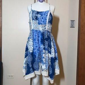 Blue bohemian print dress